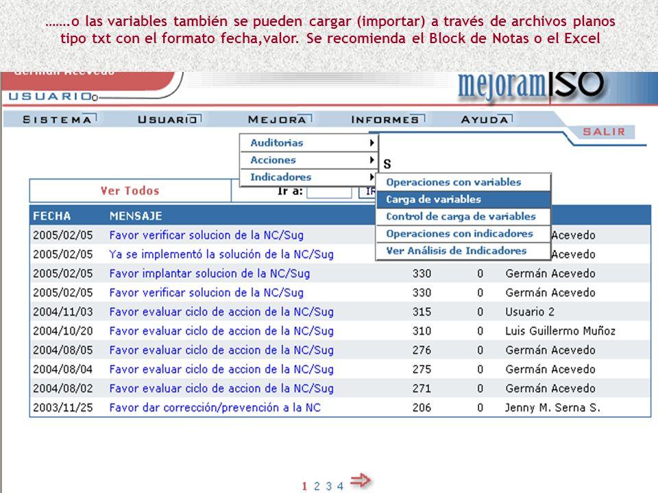 …….o las variables también se pueden cargar (importar) a través de archivos planos tipo txt con el formato fecha,valor.