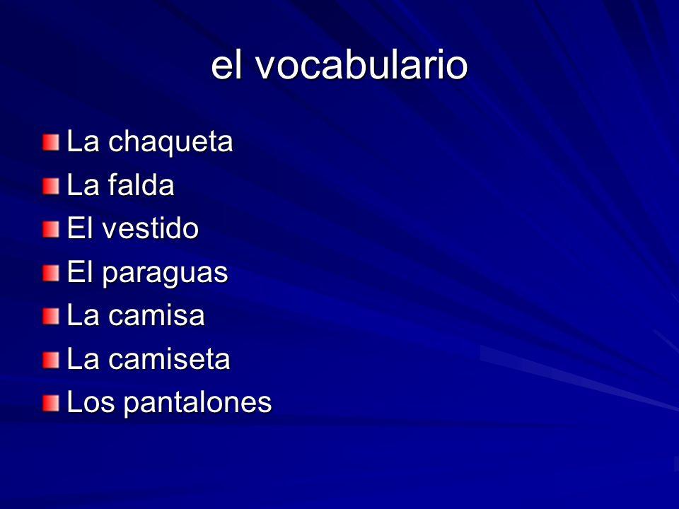 el vocabulario La chaqueta La falda El vestido El paraguas La camisa