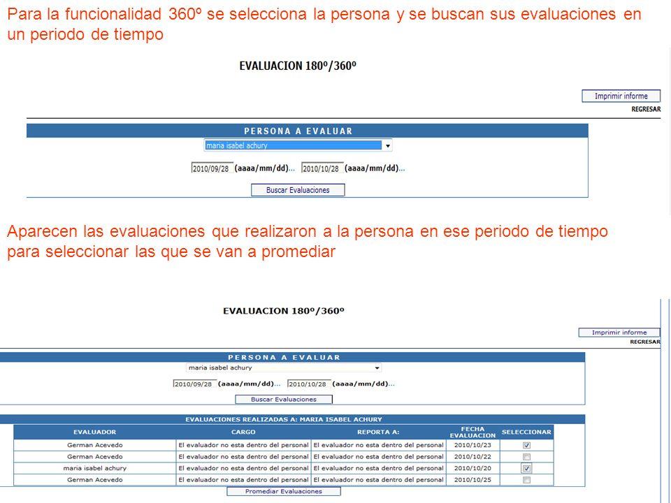 Para la funcionalidad 360º se selecciona la persona y se buscan sus evaluaciones en un periodo de tiempo