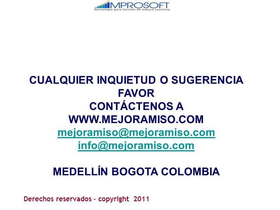 CUALQUIER INQUIETUD O SUGERENCIA FAVOR MEDELLÍN BOGOTA COLOMBIA