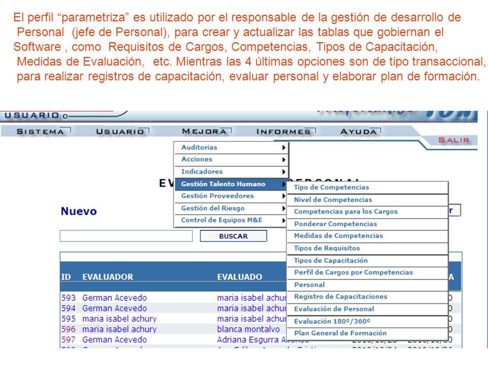 El perfil parametriza es utilizado por el responsable de la gestión de desarrollo de