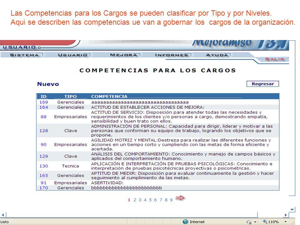 Las Competencias para los Cargos se pueden clasificar por Tipo y por Niveles.