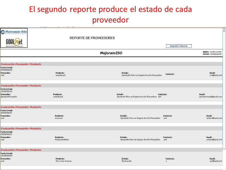 El segundo reporte produce el estado de cada proveedor