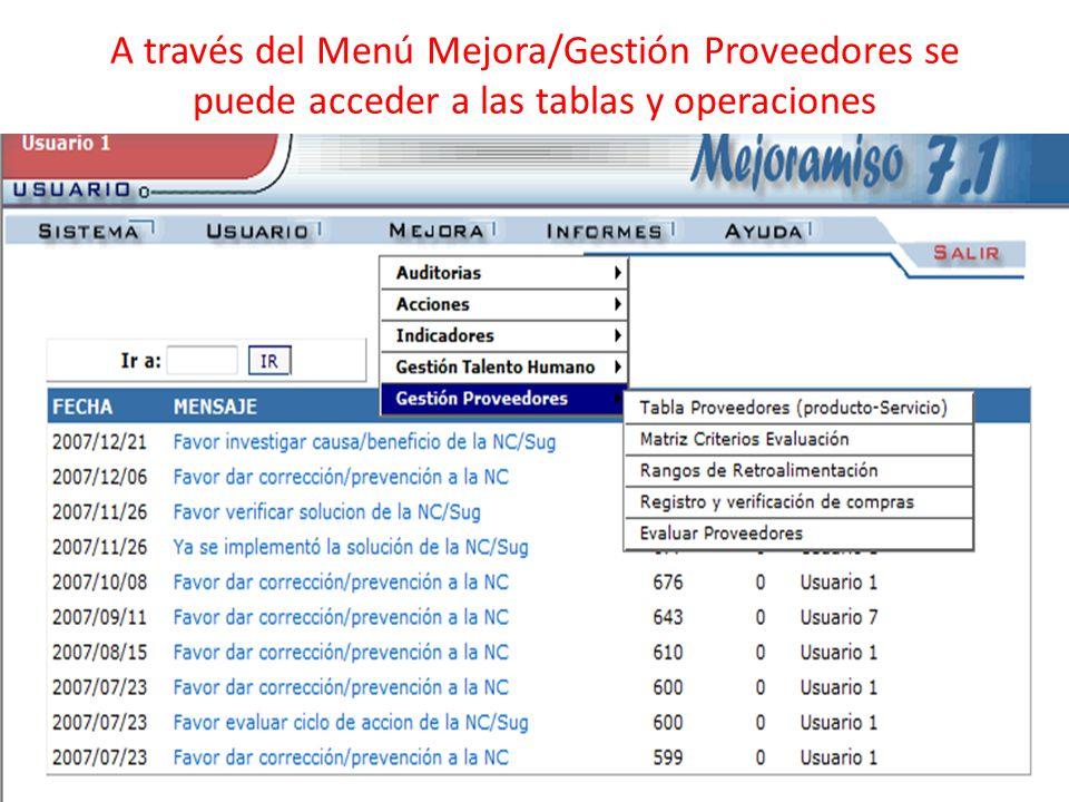 A través del Menú Mejora/Gestión Proveedores se puede acceder a las tablas y operaciones