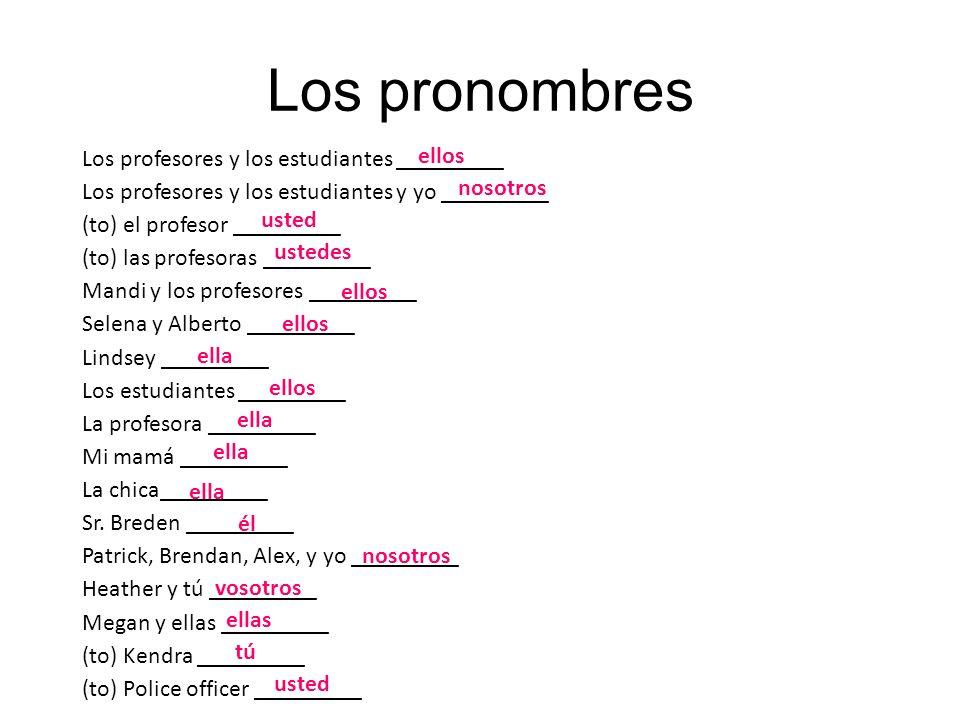 Los pronombres Los profesores y los estudiantes _________