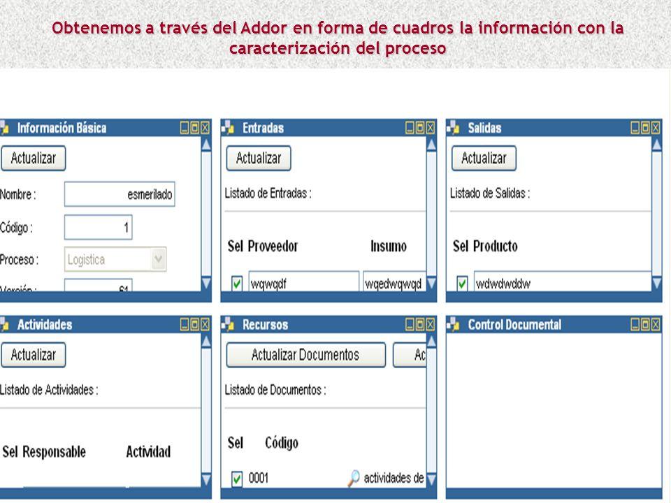 Obtenemos a través del Addor en forma de cuadros la información con la caracterización del proceso