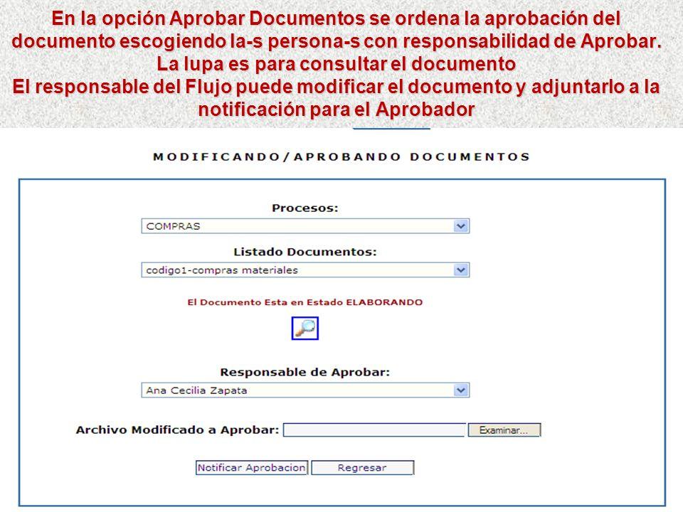 En la opción Aprobar Documentos se ordena la aprobación del documento escogiendo la-s persona-s con responsabilidad de Aprobar. La lupa es para consultar el documento