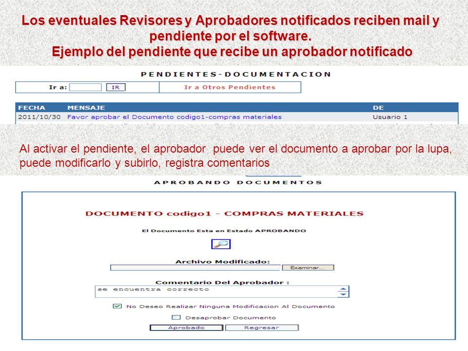 Ejemplo del pendiente que recibe un aprobador notificado