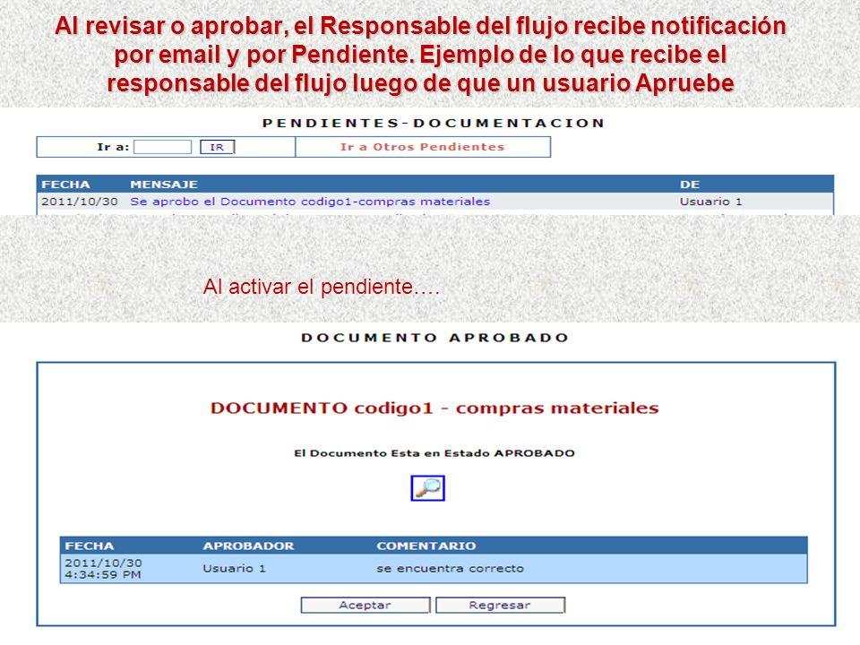 Al revisar o aprobar, el Responsable del flujo recibe notificación por email y por Pendiente. Ejemplo de lo que recibe el responsable del flujo luego de que un usuario Apruebe