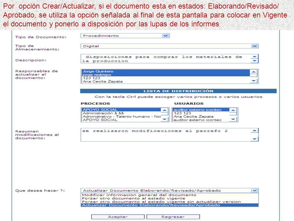 Por opción Crear/Actualizar, si el documento esta en estados: Elaborando/Revisado/