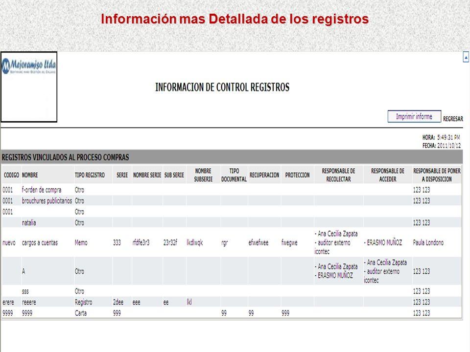 Información mas Detallada de los registros