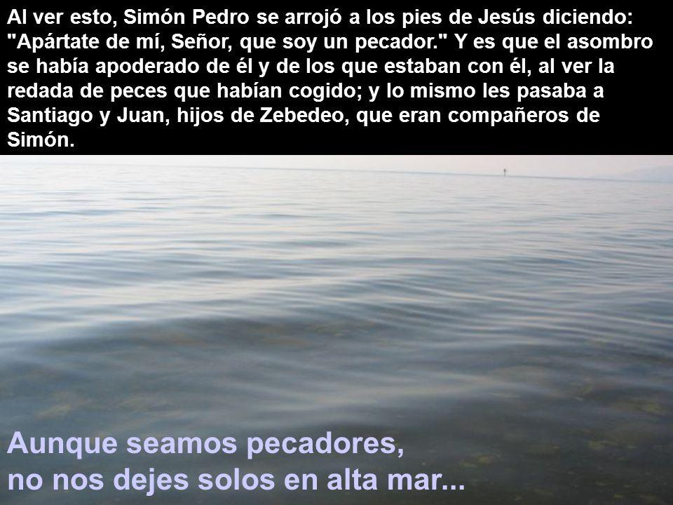 Aunque seamos pecadores, no nos dejes solos en alta mar...