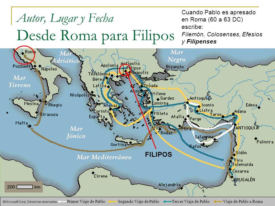Autor, Lugar y Fecha Desde Roma para Filipos
