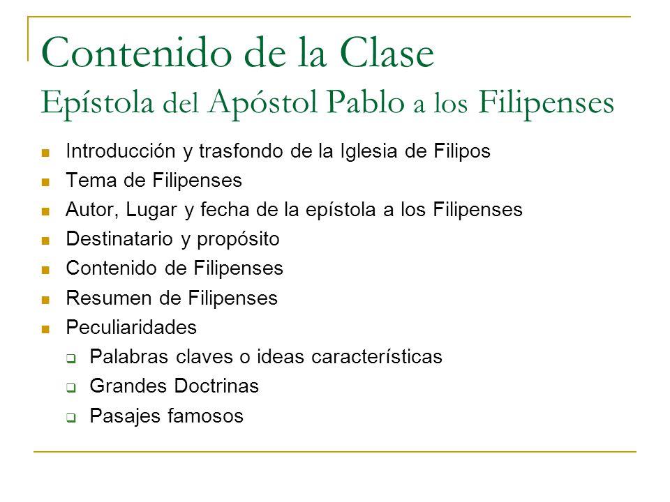 Contenido de la Clase Epístola del Apóstol Pablo a los Filipenses