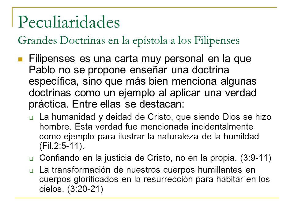 Peculiaridades Grandes Doctrinas en la epístola a los Filipenses