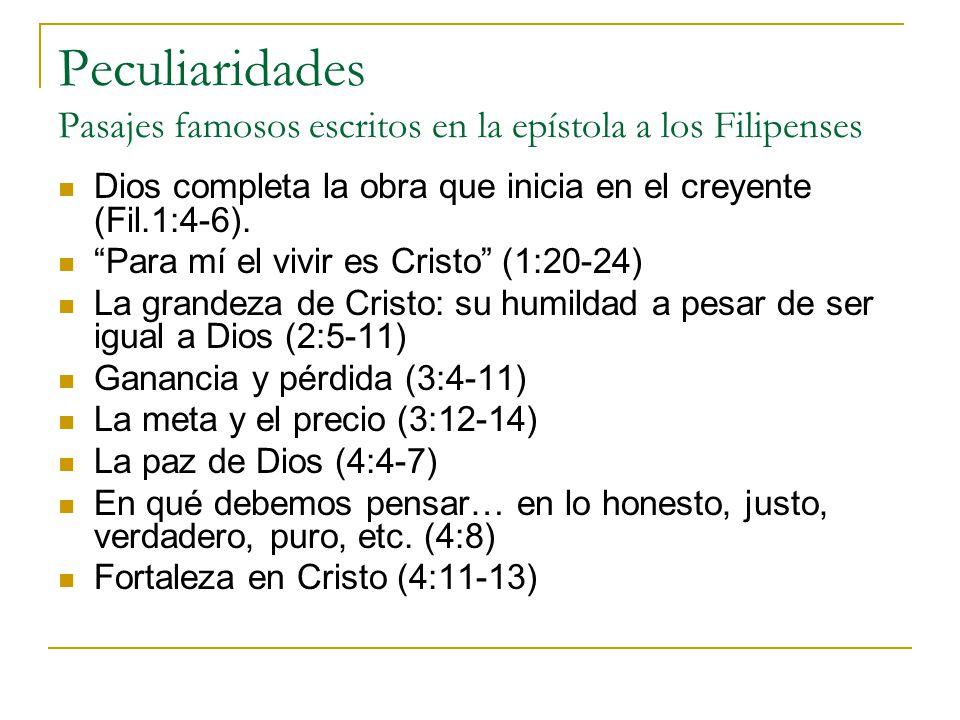 Peculiaridades Pasajes famosos escritos en la epístola a los Filipenses