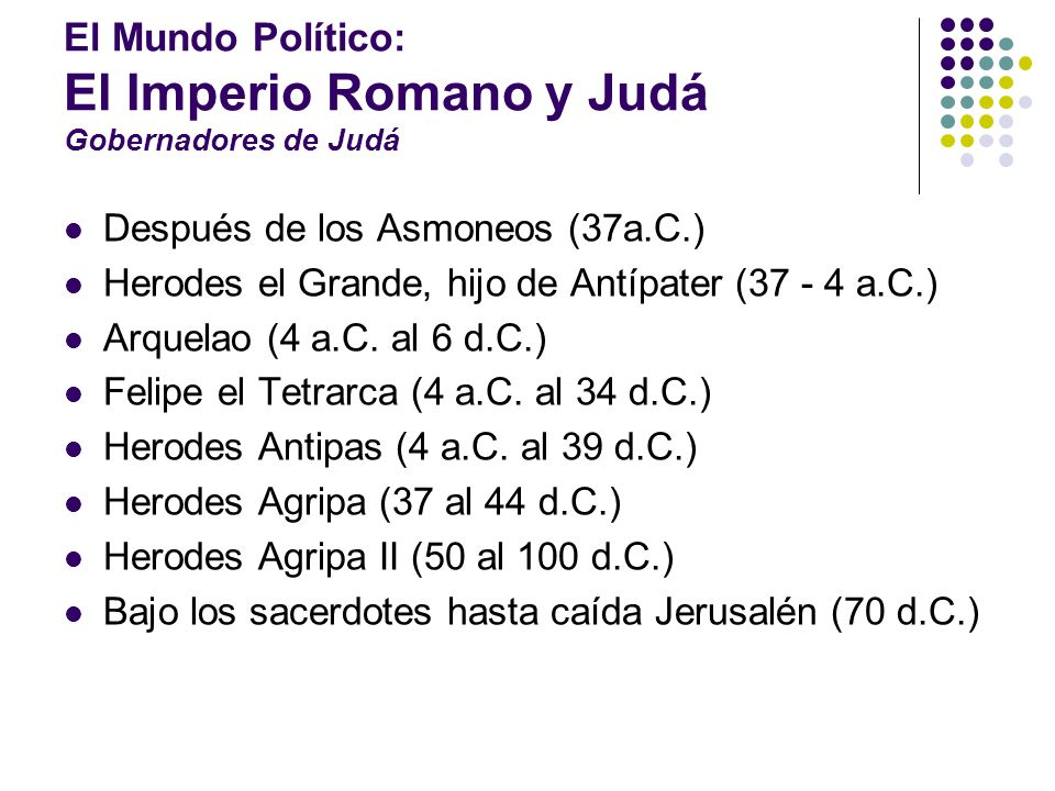 El Mundo Político: El Imperio Romano y Judá Gobernadores de Judá