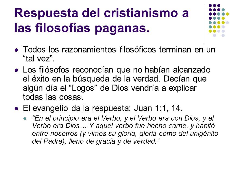 Respuesta del cristianismo a las filosofías paganas.