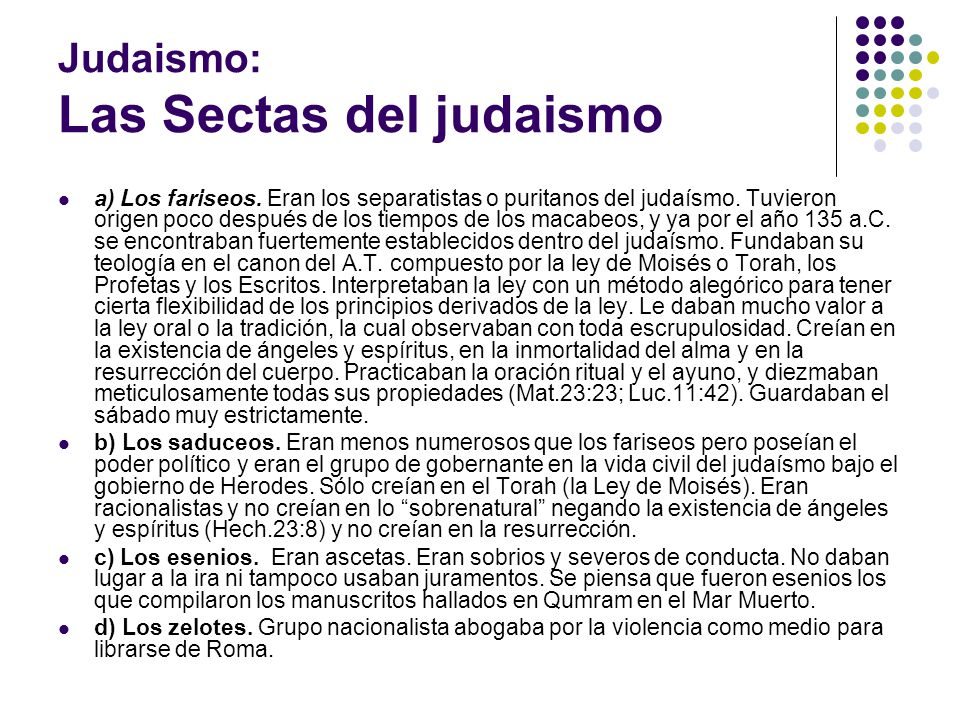 Judaismo: Las Sectas del judaismo