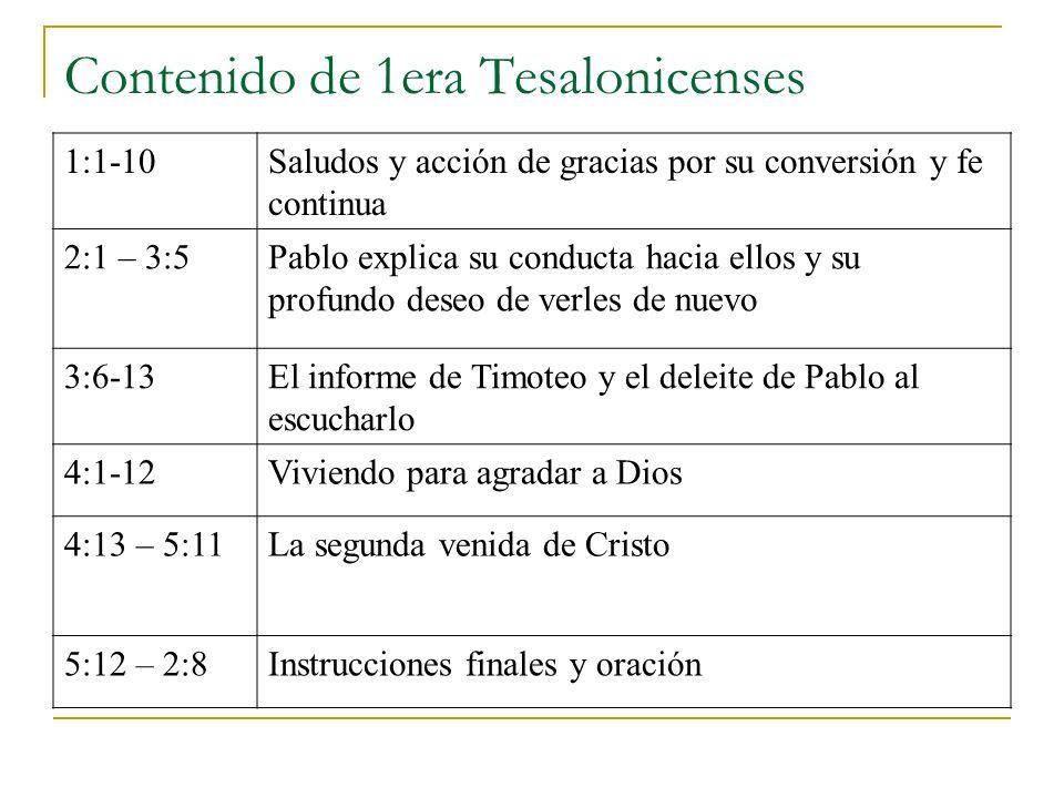 Contenido de 1era Tesalonicenses