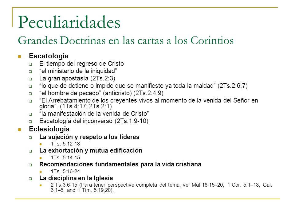 Peculiaridades Grandes Doctrinas en las cartas a los Corintios