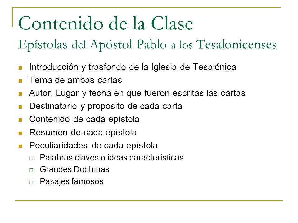 Contenido de la Clase Epístolas del Apóstol Pablo a los Tesalonicenses