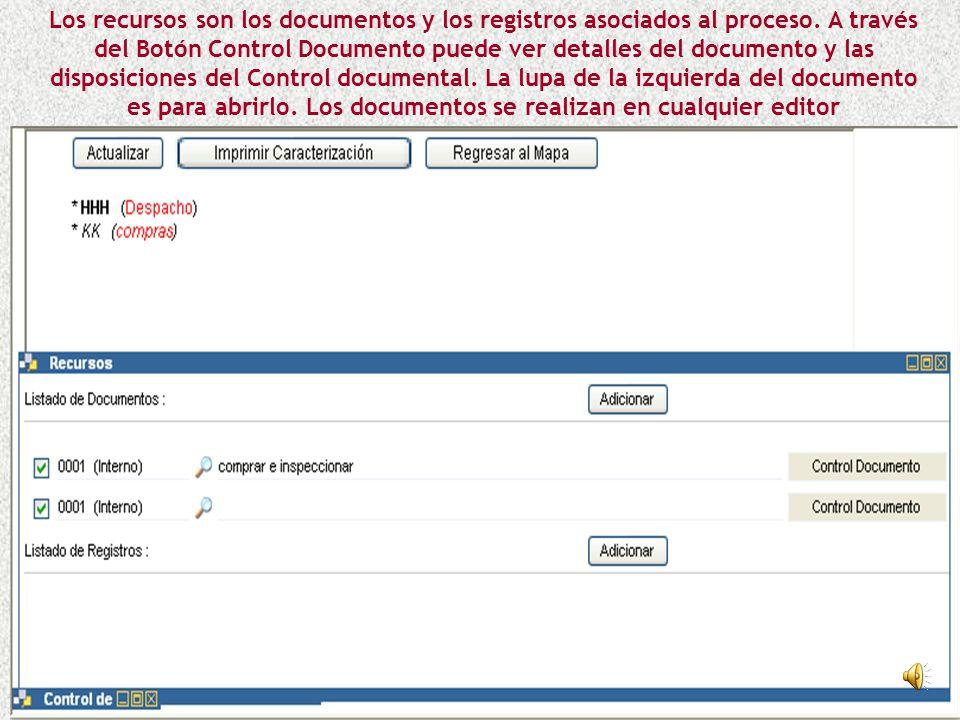 Los recursos son los documentos y los registros asociados al proceso