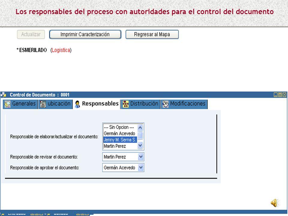 Los responsables del proceso con autoridades para el control del documento