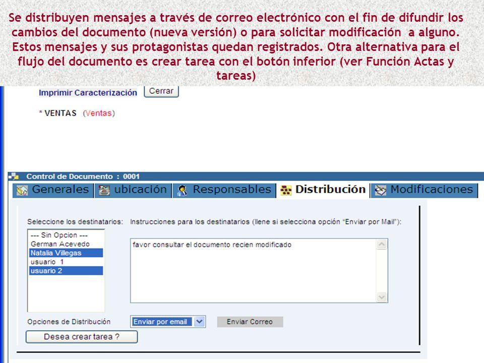 Se distribuyen mensajes a través de correo electrónico con el fin de difundir los cambios del documento (nueva versión) o para solicitar modificación a alguno.