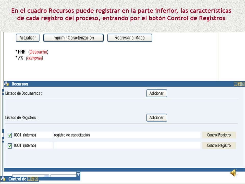 En el cuadro Recursos puede registrar en la parte inferior, las características de cada registro del proceso, entrando por el botón Control de Registros