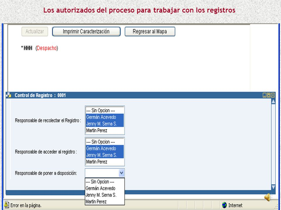 Los autorizados del proceso para trabajar con los registros