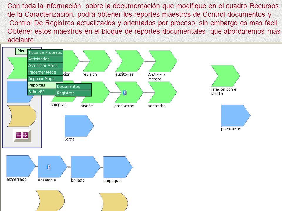 Con toda la información sobre la documentación que modifique en el cuadro Recursos