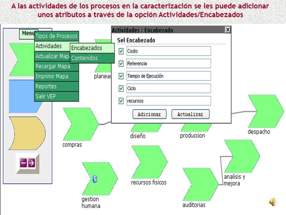 A las actividades de los procesos en la caracterización se les puede adicionar unos atributos a través de la opción Actividades/Encabezados