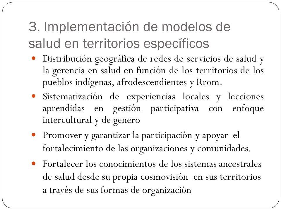 3. Implementación de modelos de salud en territorios específicos