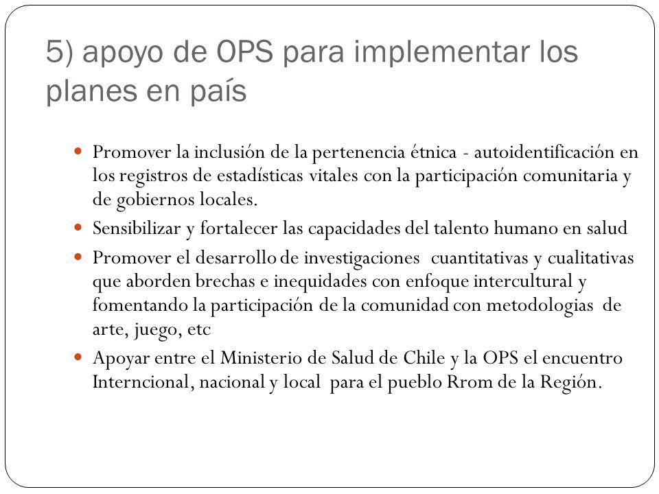 5) apoyo de OPS para implementar los planes en país