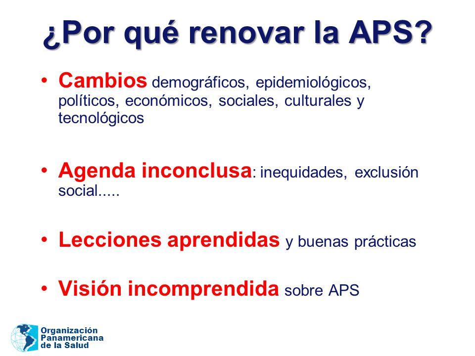 ¿Por qué renovar la APS Cambios demográficos, epidemiológicos, políticos, económicos, sociales, culturales y tecnológicos.