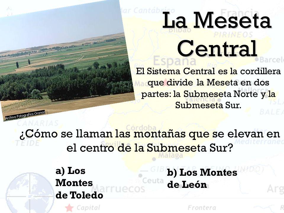 La Meseta Central El Sistema Central es la cordillera que divide la Meseta en dos partes: la Submeseta Norte y la Submeseta Sur.