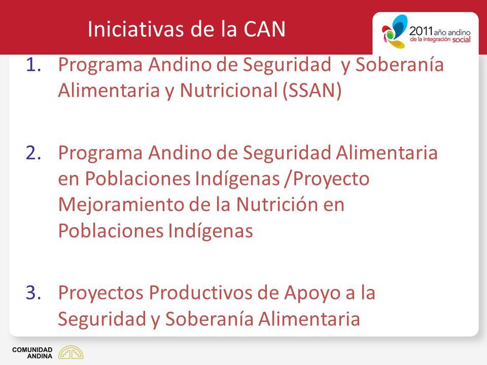 Iniciativas de la CAN Programa Andino de Seguridad y Soberanía Alimentaria y Nutricional (SSAN)