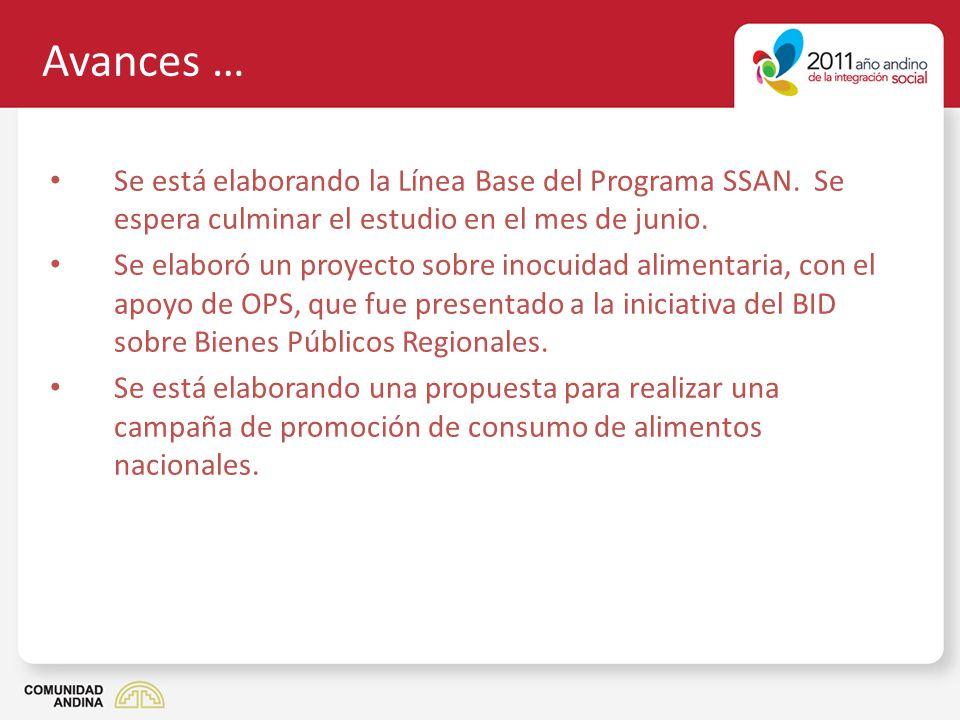 Avances … Se está elaborando la Línea Base del Programa SSAN. Se espera culminar el estudio en el mes de junio.