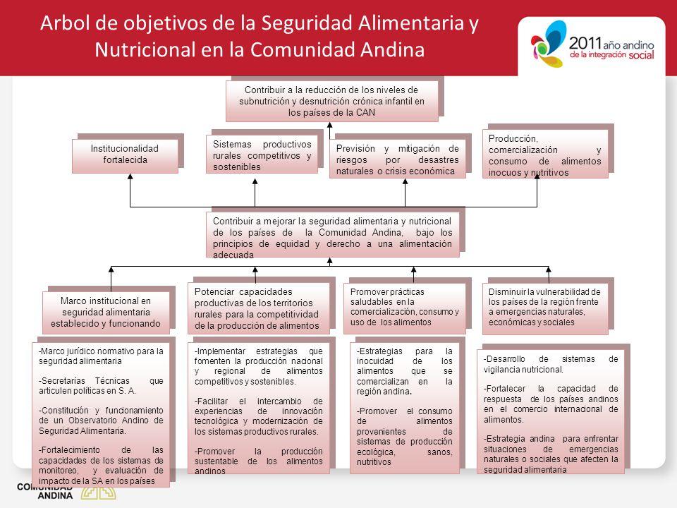 Arbol de objetivos de la Seguridad Alimentaria y Nutricional en la Comunidad Andina