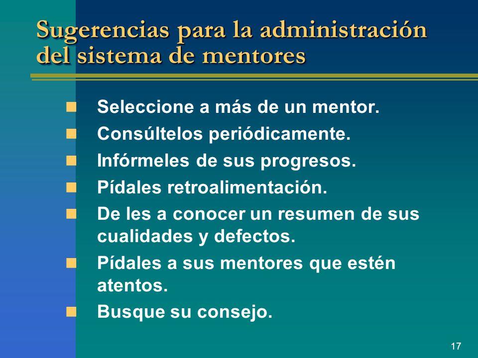 Sugerencias para la administración del sistema de mentores