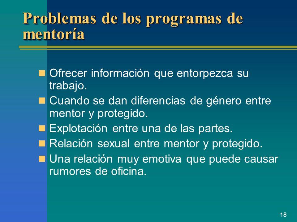 Problemas de los programas de mentoría