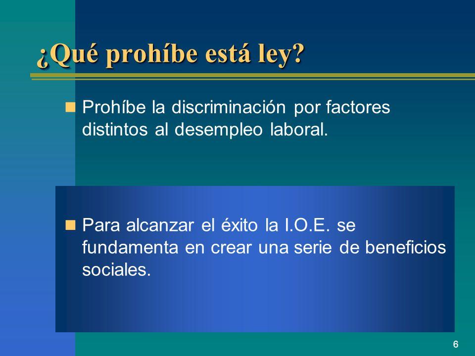 ¿Qué prohíbe está ley Prohíbe la discriminación por factores distintos al desempleo laboral.