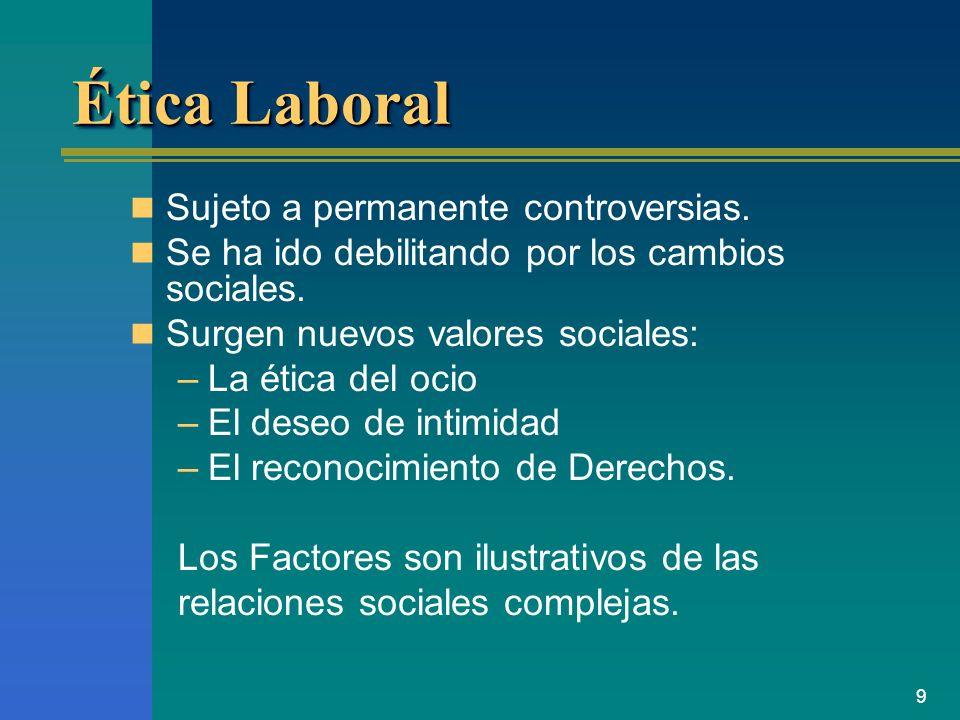 Ética Laboral Sujeto a permanente controversias.