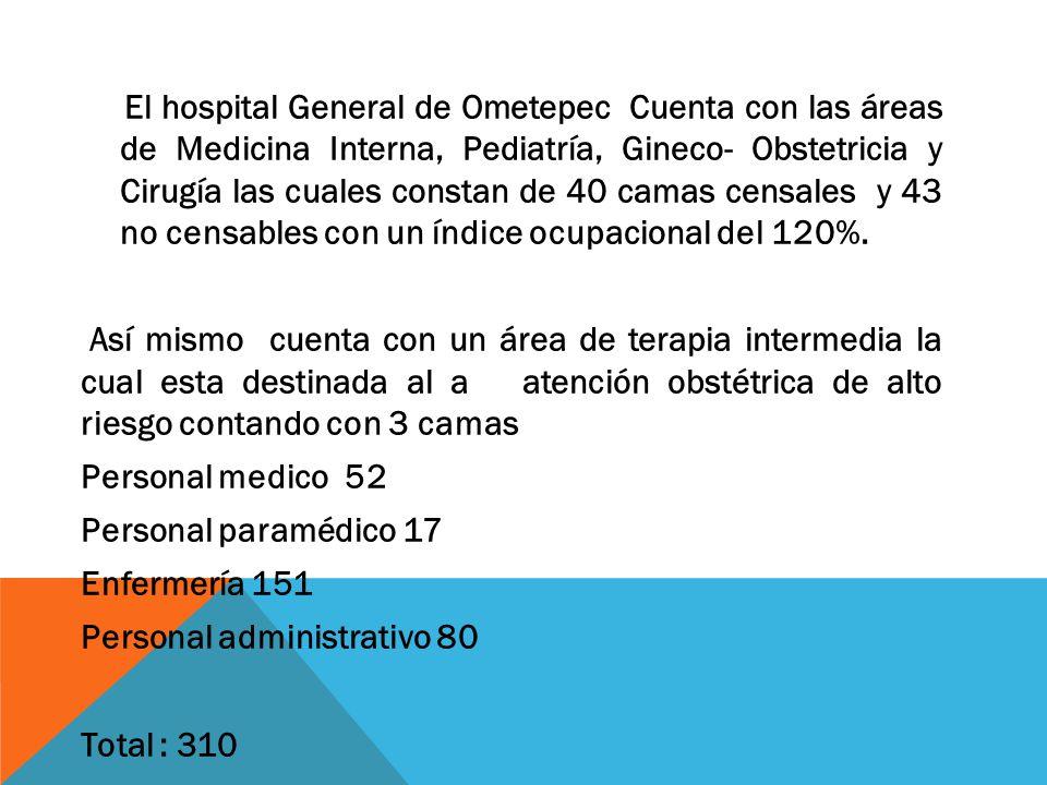 El hospital General de Ometepec Cuenta con las áreas de Medicina Interna, Pediatría, Gineco- Obstetricia y Cirugía las cuales constan de 40 camas censales y 43 no censables con un índice ocupacional del 120%.