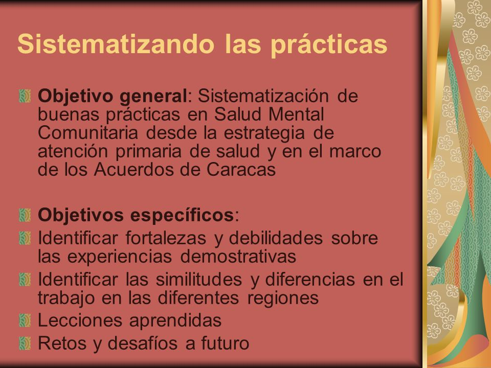 Sistematizando las prácticas