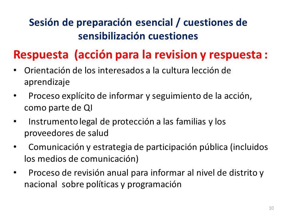 Respuesta (acción para la revision y respuesta :
