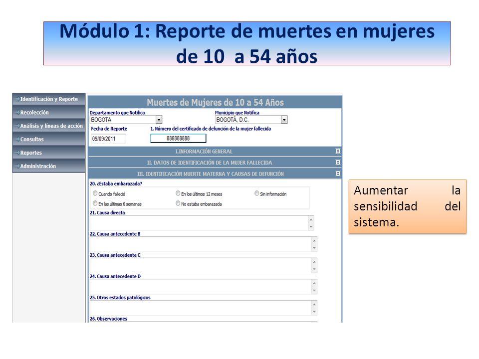 Módulo 1: Reporte de muertes en mujeres de 10 a 54 años