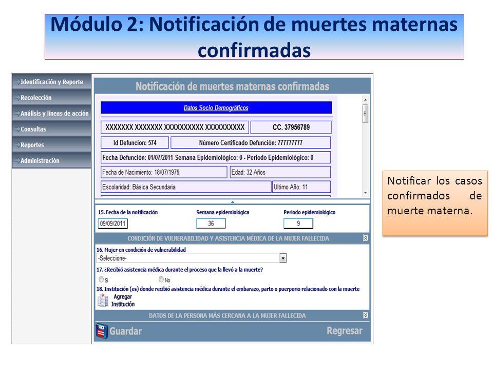 Módulo 2: Notificación de muertes maternas confirmadas