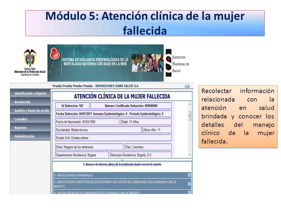 Módulo 5: Atención clínica de la mujer fallecida